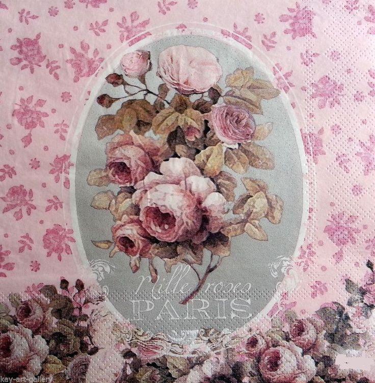4 x Vintage PAPER Table NAPKINS / TEA PARTY / TEA ROSES /  DECOUPAGE / CRAFT