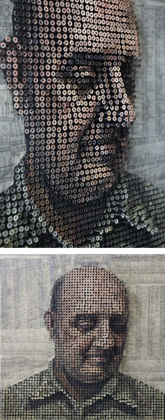 this guy drills screws in at various depths, and then paints them.
