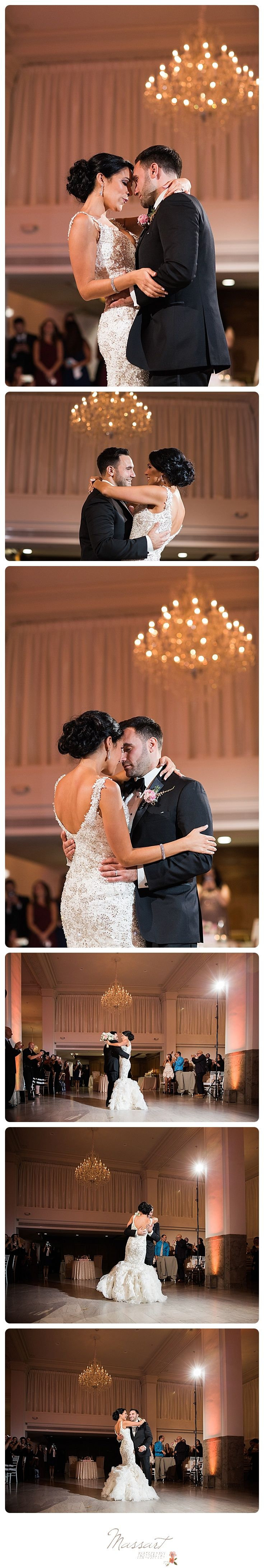 Sweet and romantic bride and groom first dance portraits taken in the ballroom a…
