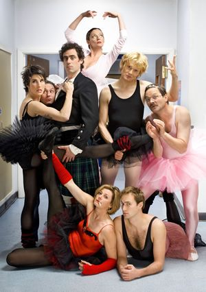 The Green Wing staff - from top to bottom: Joanna Clore (Pippa Haywood), Dr Martin Dear (Karl Theobald), Dr. Mac McCartney (Julian Rhind-Tutt), Dr. Caroline Todd (Tamsin Greig), Guy Secretan (Stephen Mangan), Sue White (Michelle Gomez), Boyce (Oliver Chris) and on the right: Dr. Alan Statham (Mark Heap)