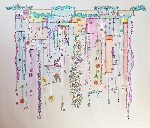 """Lovely watercolor on this Zenspirations Dangle Design entitled """"Ribbons"""" by Ginny Griffin on Flickr"""