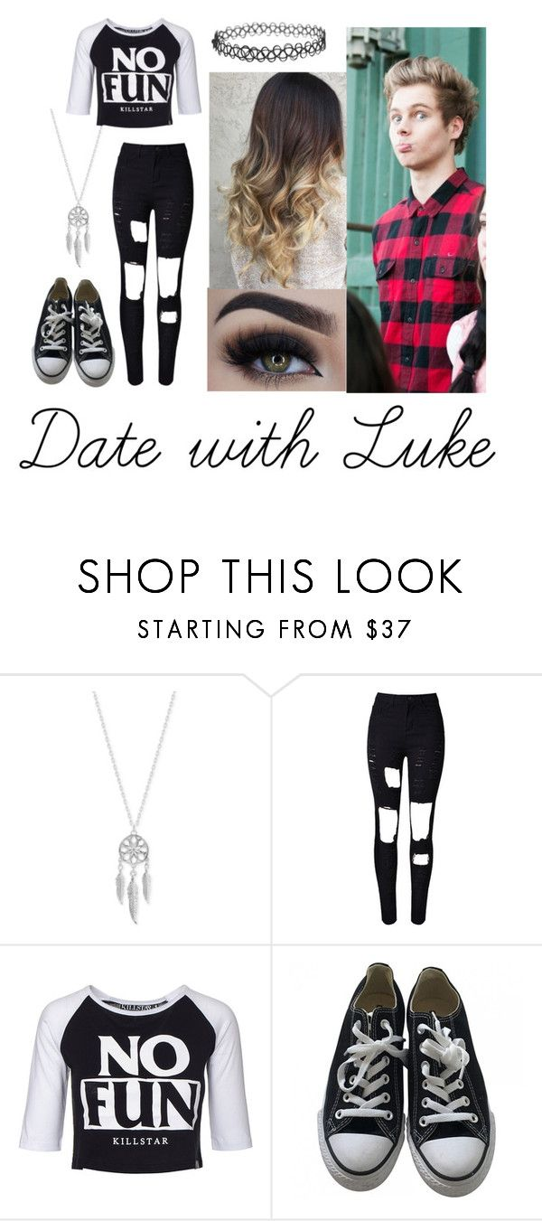 """Date with Luke Hemmings"" by gcdonuts on Polyvore featuring Lucky Brand, WithChic, Eyeko, Killstar and Converse"