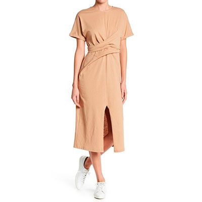 Lush Wrap Tie Midi Dress - khaki dress, camel dress, beige dress, khaki midi dress, beige midi dress, camel midi dress