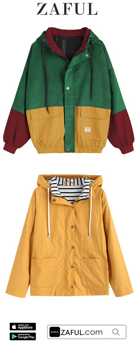 Zaful October New Fashion Hooded Color Block Corduroy Jacket Stripes