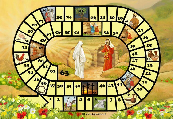 Pasen - ganzenbord met vraag en antwoordspel over het Paasverhaal, de spelregels en vragen kun je downloaden op www.bijbelidee.nl > spel en lesidee > spelmateriaal