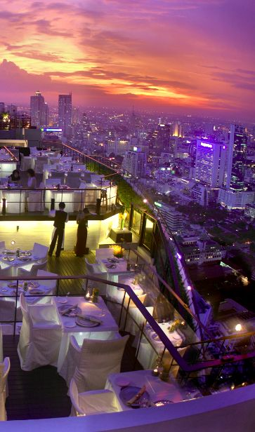 Head up to the 61st floor, where you'll find the sexiest rooftop lounge in Southeast Asia. #Bangkok
