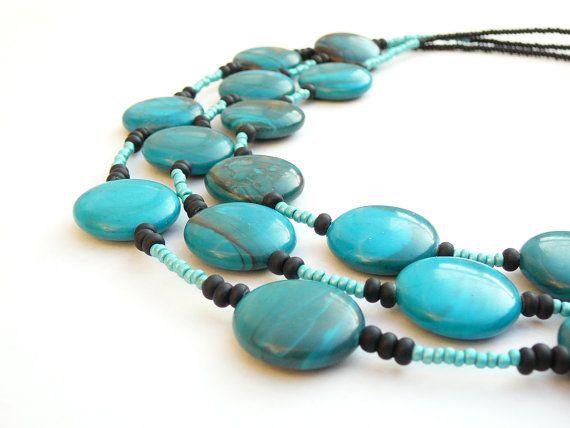 Blauwgroene ketting  blauwgroene stenen kralen door LightcityLife