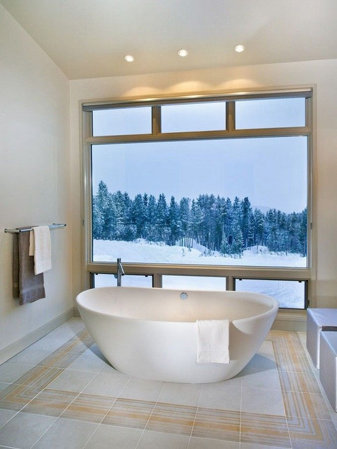 Winter bathroom with a view