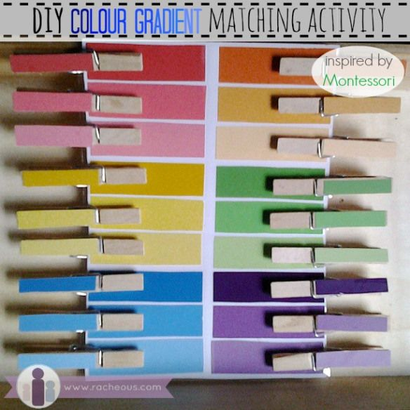 DIY Montessori colour gradient matching activity via Racheous - Lovable Learning