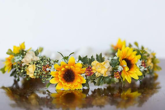 Sunflower Floral Crown Flower Halo in fall colors