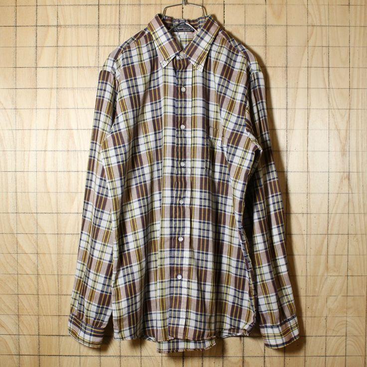 USA製 70s ビンテージ古着 ブラウン 長袖チェックボタンダウンネルシャツ メンズM BonHomme