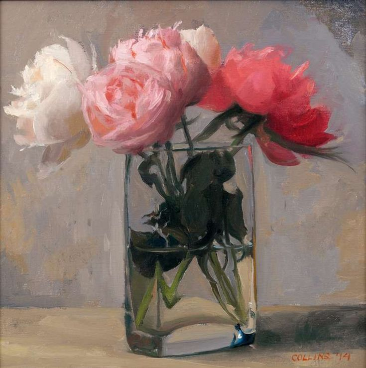 Peonies in a Square Glass | From a unique collection of still-life paintings at http://www.1stdibs.com/art/paintings/still-life-paintings/