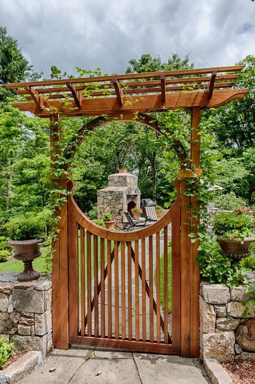 Asian Landscape/Yard with outdoor pizza oven, Arbor, Pathway, Trellis, Fence, Raised beds, Wooden Gate with Curved Features