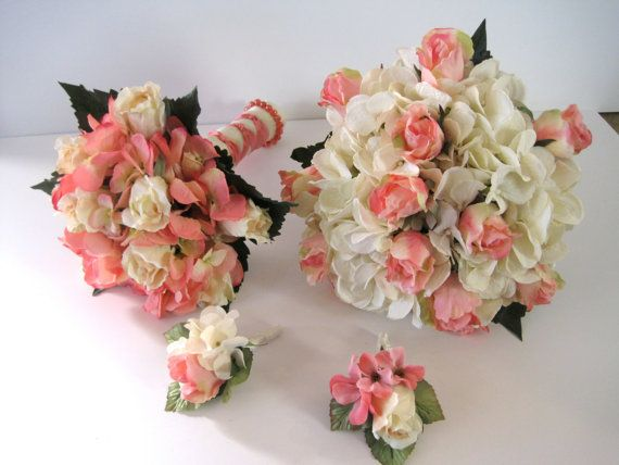 Ivory Coral Pink Hydrangea and Rose Bouquet Set  READY TO SHIP  by theraggedyrose, $335.00