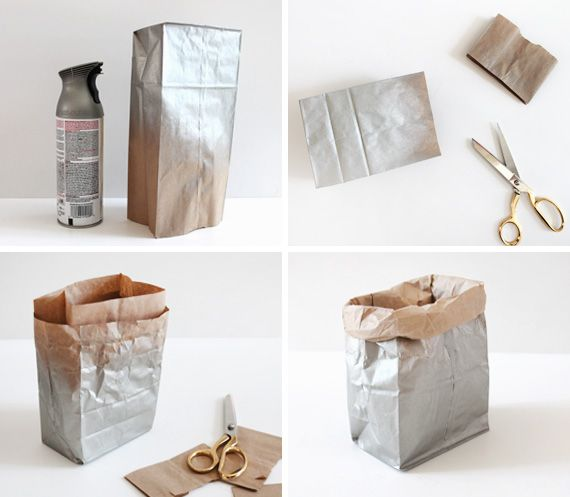 Metallic bag DIY: would make lovely displays for the holidays.