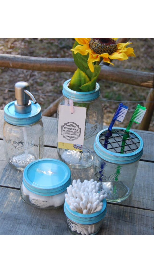 Bathroom mason jar holders and dispensers.