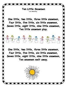 FREE Ten Little Snowmen Poem