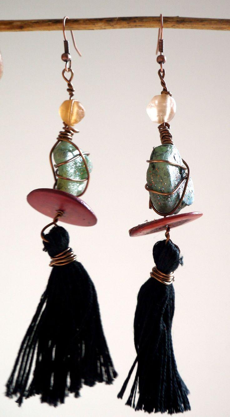 """Boucles d'Oreilles Bohême Chic, Boucles Ethniques, Boucles esprit Jade, """"Izuko"""", idée cadeau : Boucles d'oreille par princesse-aglae"""