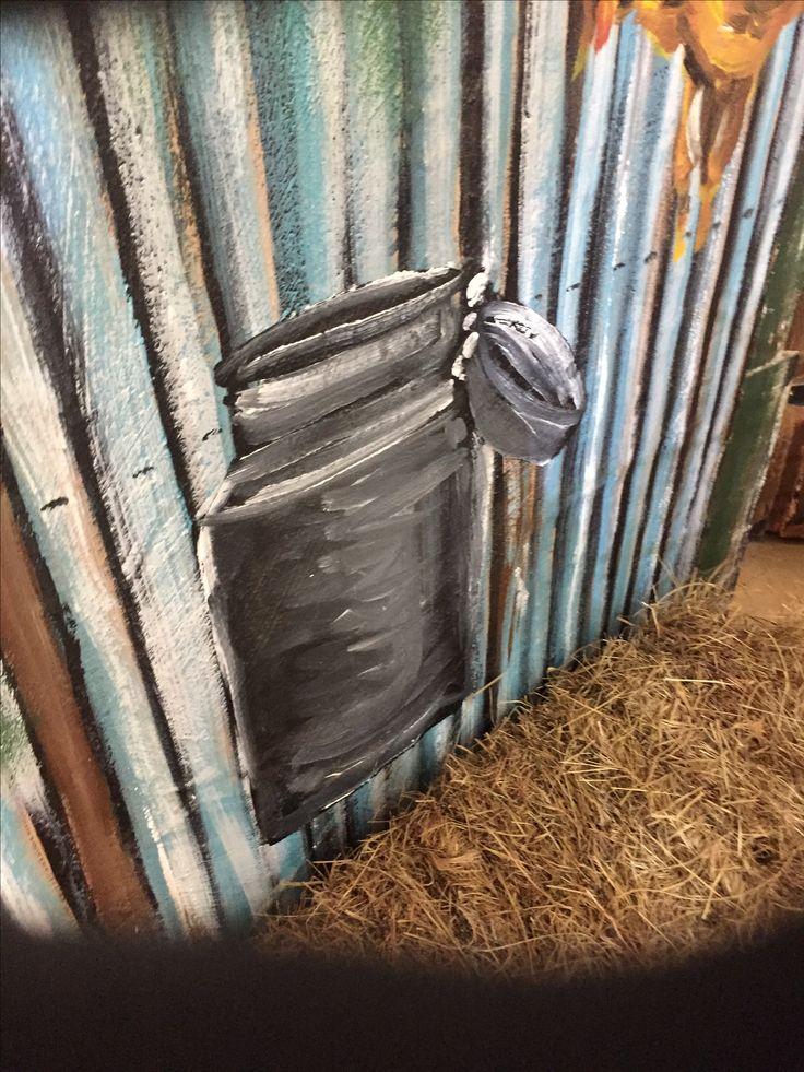 Milkcan Painted on corrugated Iron