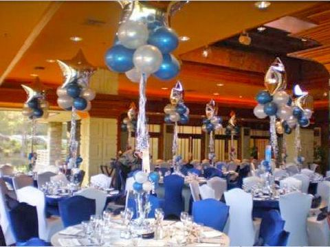 Blue and white graduation decorations decoratons in blue for Adult birthday decoration ideas