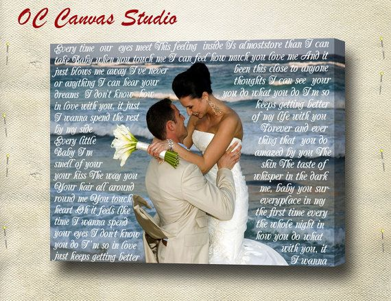 Valentine's Day Gift- Wedding Photo  Canvas Print with Wedding Songs Lyrics/Vows/Poem/Quotes. Personal/Unique Wall Decor. on Etsy, $59.95