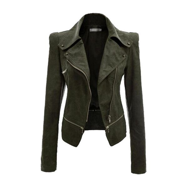 Rotita Solid Army Green Long Sleeve Jacket ($40) ❤ liked on Polyvore featuring outerwear, jackets, green, zipper leather jacket, faux jacket, olive leather jacket, olive jacket and green jacket