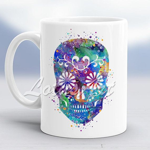 Sugar Skull Watercolor Mug Skull Art Custom Mug Coffee Mug