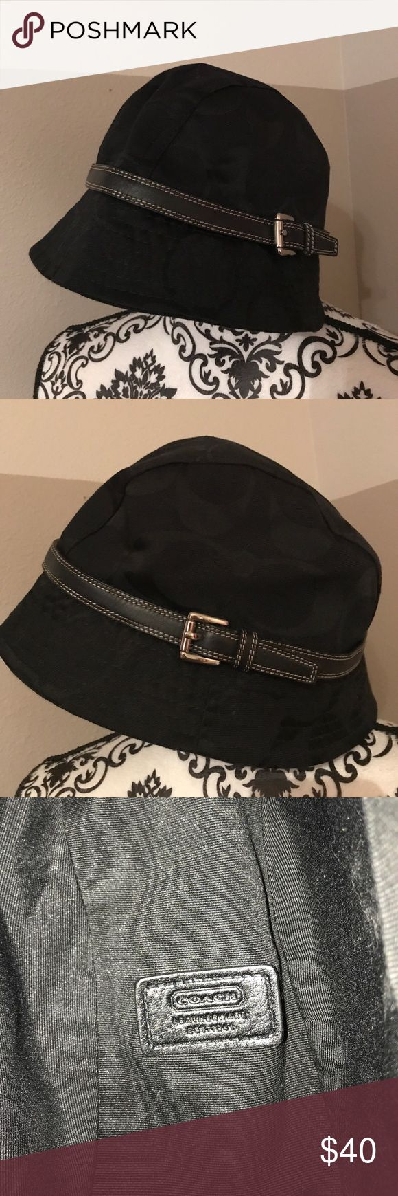 Coach Hat Bucket-style Coach Hat in signature-print black fabric. Authentic. Purchased directly from Coach. Coach Accessories Hats