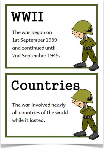 World War Two Fact Cards - Treetop Displays - Downloadable EYFS, KS1, KS2 classroom display and primary teaching aid resource