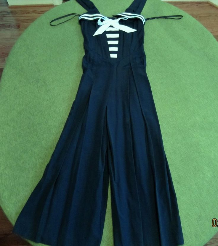 rare joseph ribkoff sailor vintage #80s navy nautical jumpsuit white stripe sz 8 from $189.99