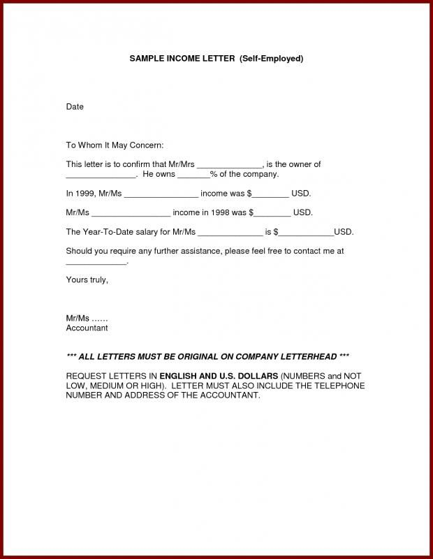 Proof Of Income For Self Employed In 2020 Letter Template Word