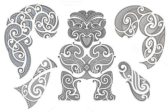 Maori tattoo patterns (5x) by artefy on Creative Market
