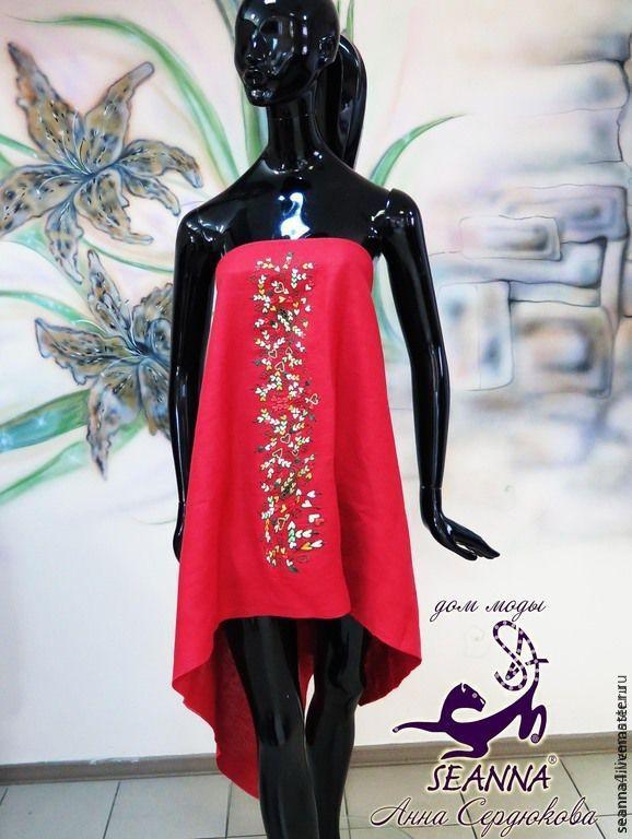 Купить или заказать Платье-юбка из льна с вышивкой на любой размер 'Полянка сердечек' в интернет-магазине на Ярмарке Мастеров. Натуральное, дышащее платье-юбка из красного льна с очень красивой многоцветной вышивкой шелком. Можно носить как юбку и как платье, благодаря вшитой широкой резинке внутри. Вышивка очень красивая, несет в себе позитивную энергетику, рисунок в народном стиле выполнен с использованием многих сердечек, если присмотреться, поэтому несет Любовь своей обладтельнице…