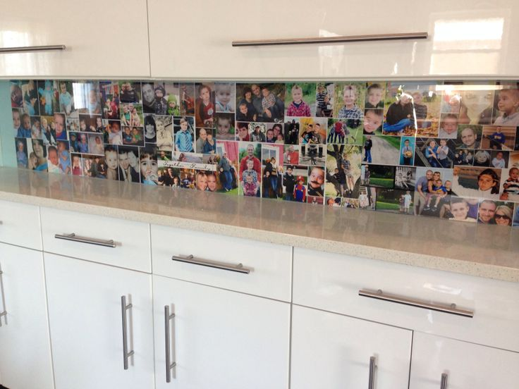 Diy Backsplash Project Made Of Old Pics Created On 8 Collages And Held Up With Plexiglass