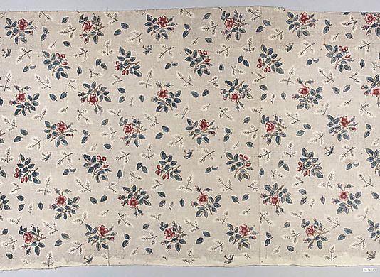 Floral print Oberkampf Manufactory (French, active 1760–1843) Date: 1770–75 Culture: French (Jouy-en-Josas) Medium: Linen Dimensions: L. 31 ...