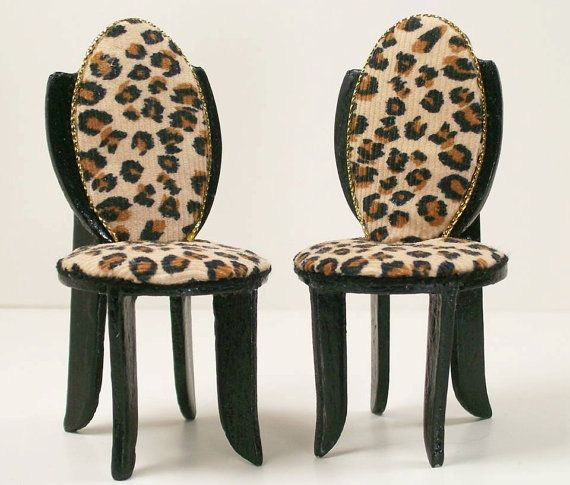 Custom Listing Vintage Dollhouse Furniture Chairs Redone Cheetah Print  Shield Back Dining Room Chairs