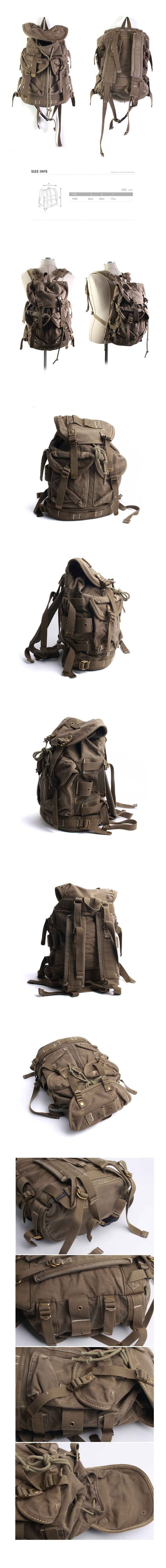 Vintage Canvas Outdoor Military Rucksack Backpack Travel Bag