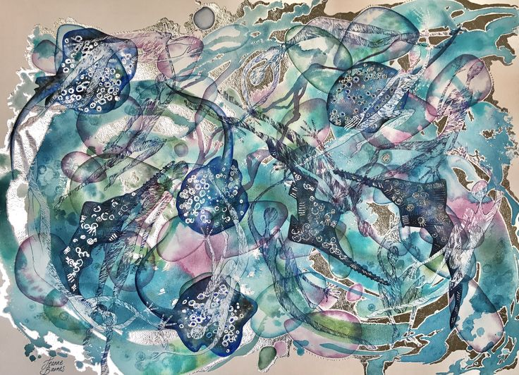Watercolour and silver leaf on paper by Jeanne Barnes.