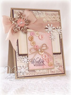 Pink Winter Wishes Card...glittered star, snowflakes & buttons...Designed by Andrea Ewen.