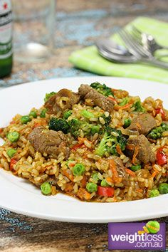High Protein Recipes: Satay Fried Rice with Beef. #HealthyRecipes #DietRecipes #WeightlossRecipes weightloss.com.au