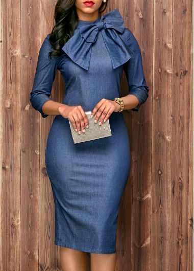 Navy Blue Back Slit Bowknot Embellished Sheath Dress, high quality and better service at www.rosewe.com.