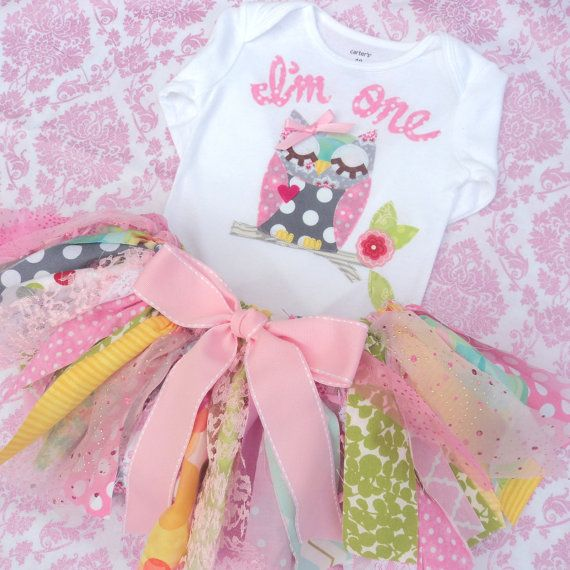 Adorable cute OWL birthday OUTFIT! This version is in greys and pinks. ( you choose either pink with white polka dots or a pinks/orange batik fabric