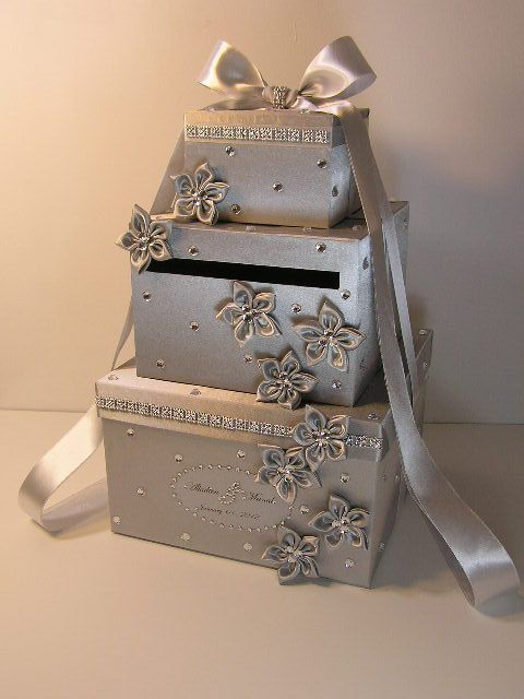 Silver Wedding Card Box Gift Card Box Money Box by bwithustudio