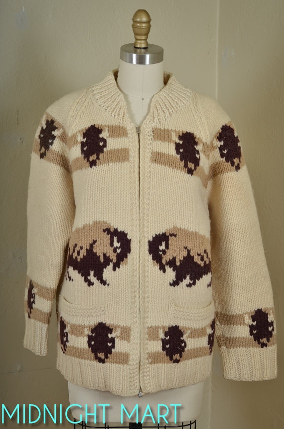 Vintage 1950s Buffulo Cowichan Sweater Chunky By