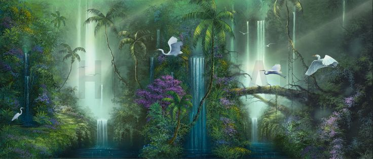 Waterfall Fantasy - Fotobehang & Behang - Photowall