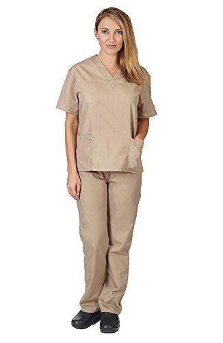 Women's Scrub Set - Medical Scrub Top and Pant, Khaki, Me... https://www.amazon.com/dp/B001L8H08U/ref=cm_sw_r_pi_dp_x_g3z7xb4Z86JK9