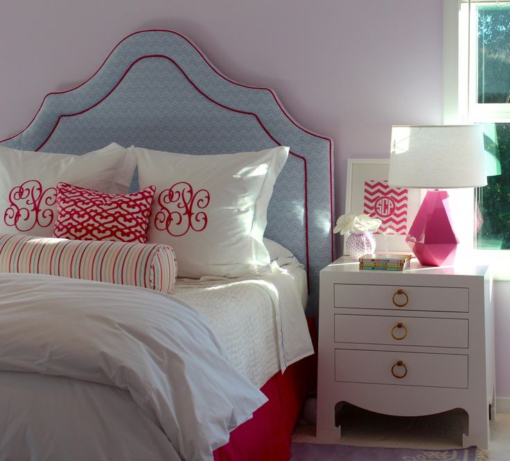 Upholstered headboard and monogram pillows - we are officially in LOVE with this #biggirlroom!