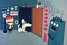 """Mister Peabody - a highly intellectual dog always accompanied by his boy Sherman (a twist on a boy and his dog) who traveled through time in the WABAC (pronounced """"wayback"""") machine to learn about history.  A great cartoon."""