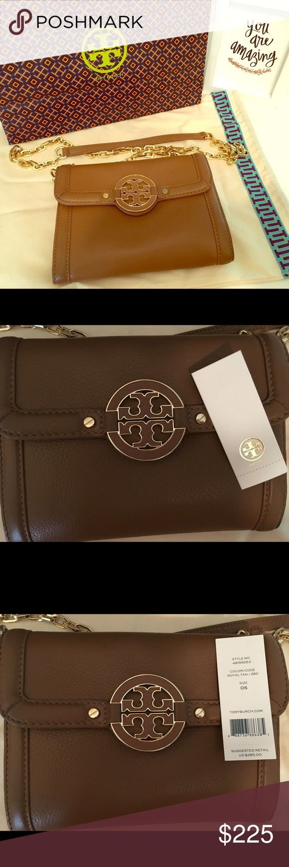 Tory burch cross body bag Beautiful leather cross body bag. In excellent, like new condition with tags included. Beautiful gold chain that is removable so that it can be carried as a clutch. Magnetic closure. Dust bag and Tory shopping bag included. Tory Burch Bags Crossbody Bags