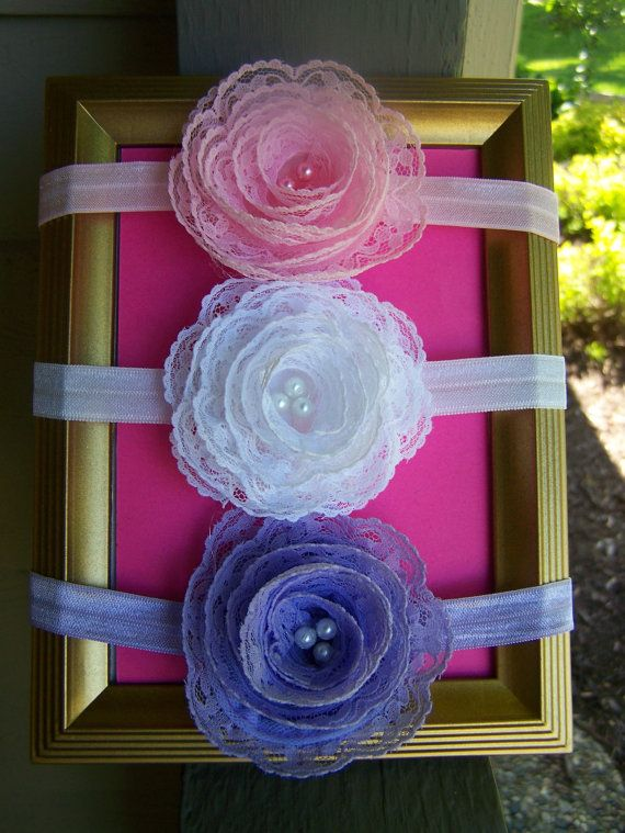 flower headband baby girl headband lace by BrightBlossomBotique, $7.00